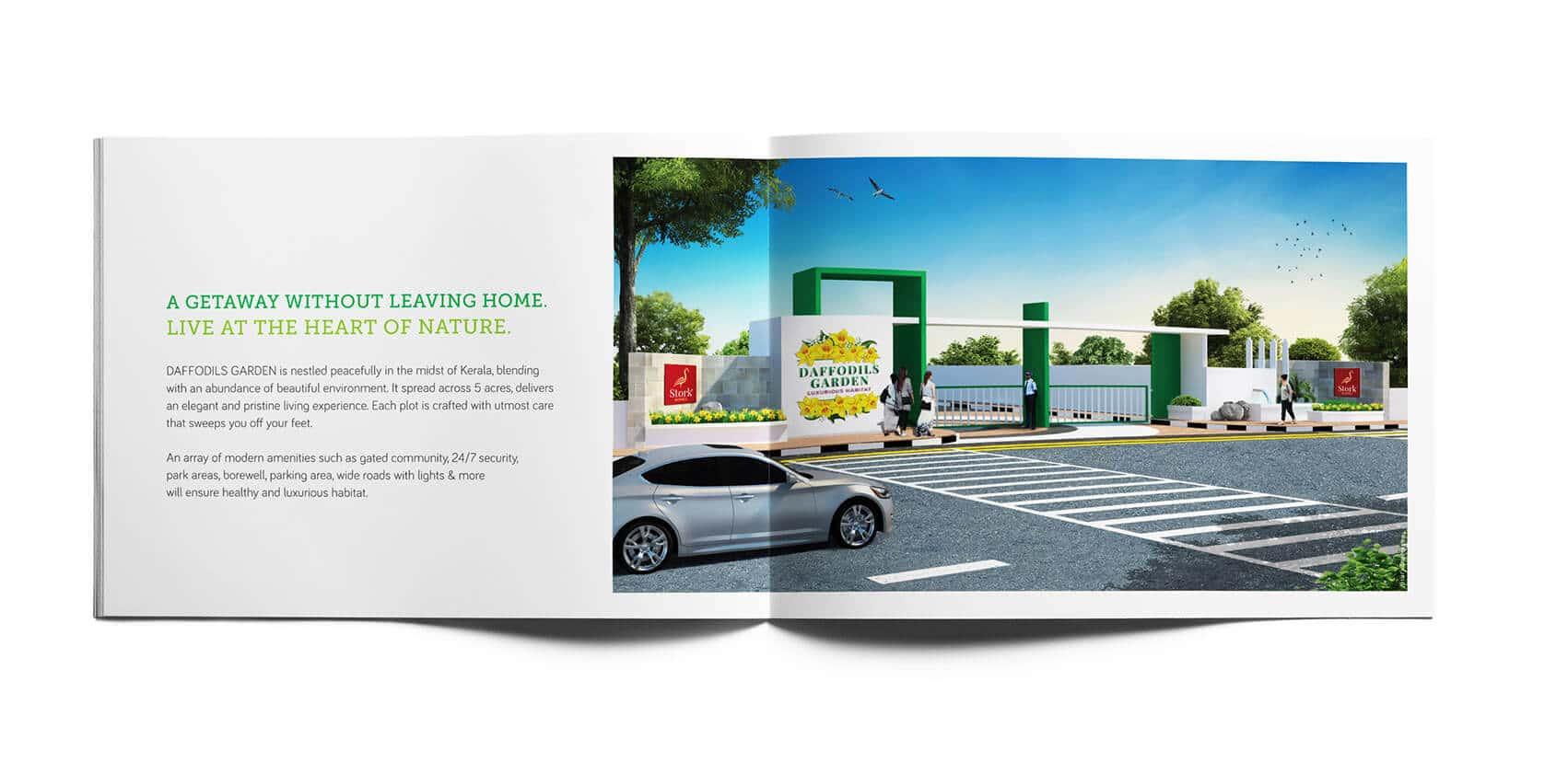 Daffodils Garden Branding Brochure Design 3D entrance Vatitude