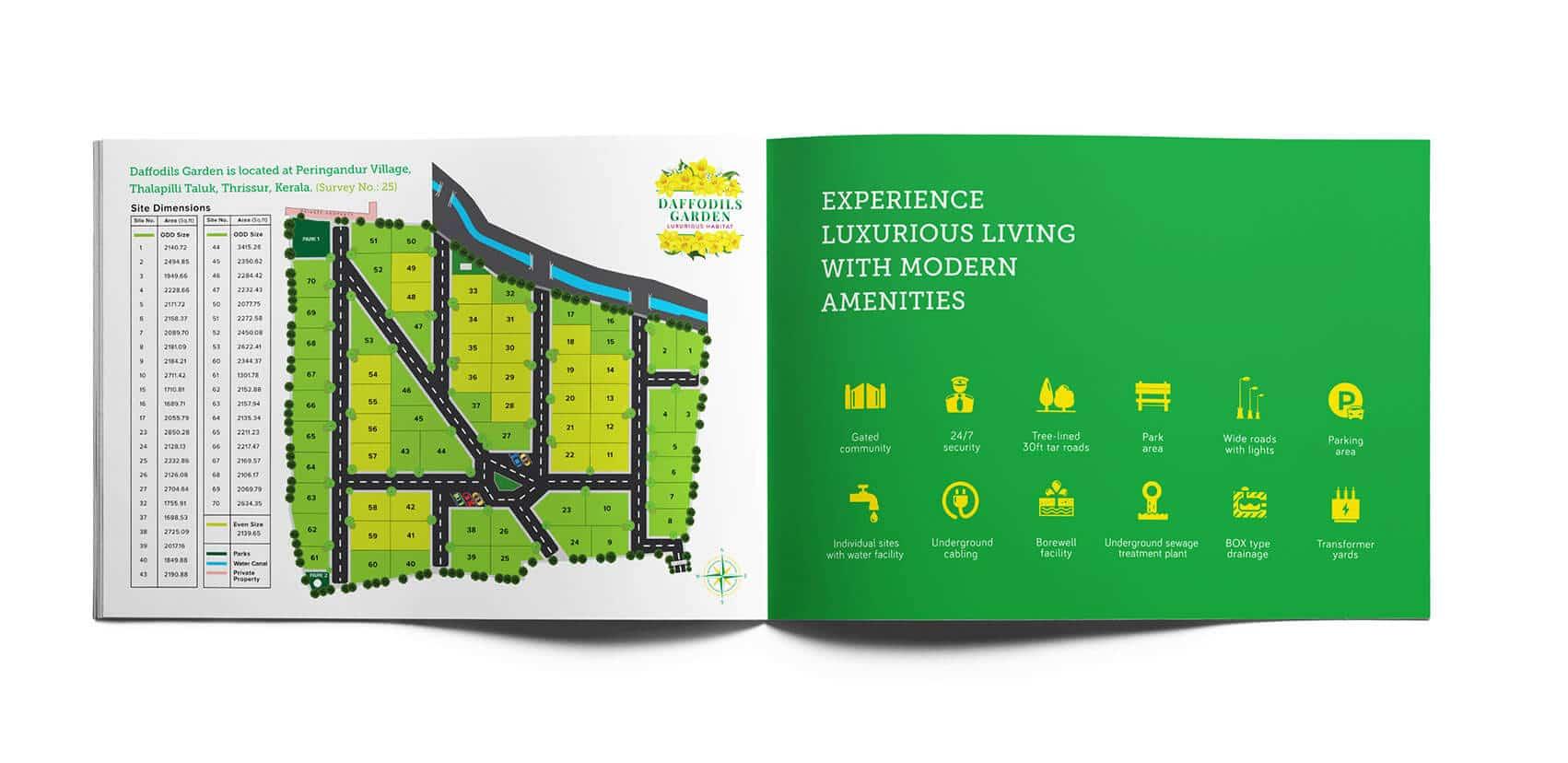 Daffodils Garden Branding Brochure Design amenities Vatitude