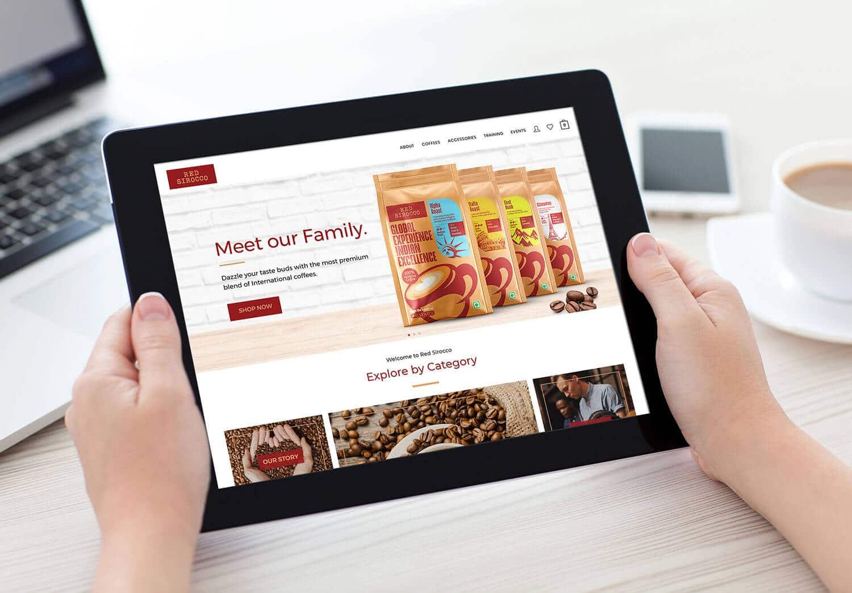 Red Sirocco Coffee Website iPad in Hand Vatitude Building Smarter Brands