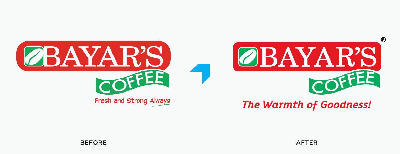 Bayar's Coffee logo with The Warmth of Goodness Tagline by Vatitude